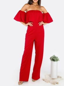 Combi-pantalon col bateau plissé - rouge