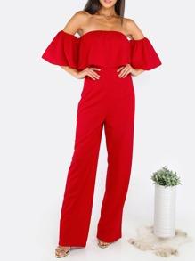 Bardot Flounce Design Jumpsuit