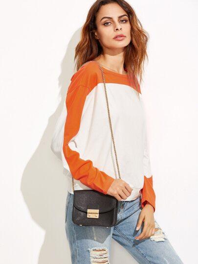 Color Block Drop Shoulder Dolman Sleeve Sweatshirt