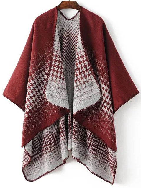 Red Draped Collar Dip Hem Cape SweaterRed Draped Collar Dip Hem Cape Sweater<br><br>color: Red<br>size: one-size