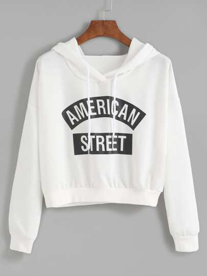 Contrast Slogan Print Hooded Sweatshirt