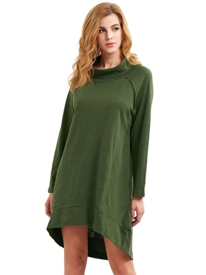 Green Blue Cowl Neck Long Sleeve High Low Dress