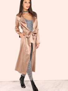 Satin Belted Trench Duster Coat BEIGE