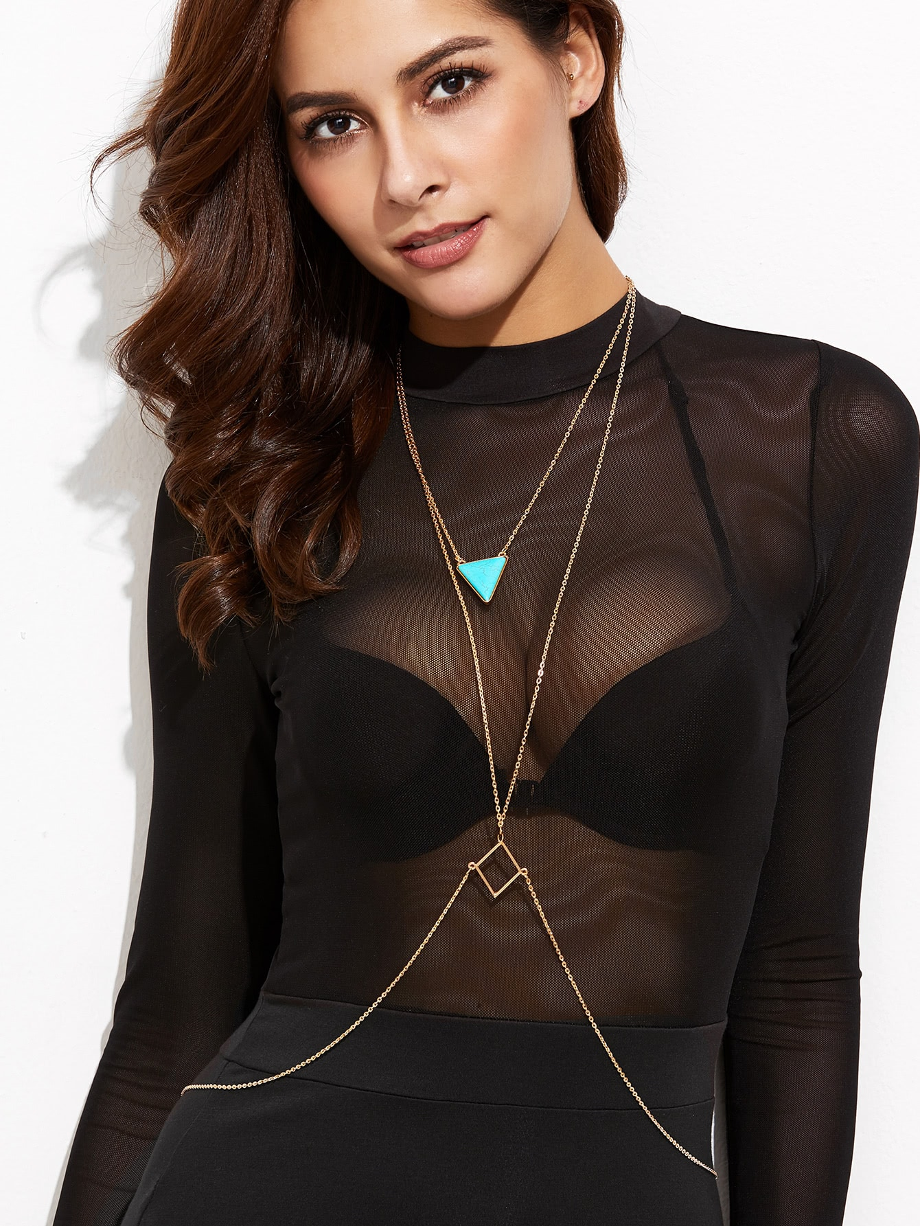Layered Geometric Turquoise Body Chain