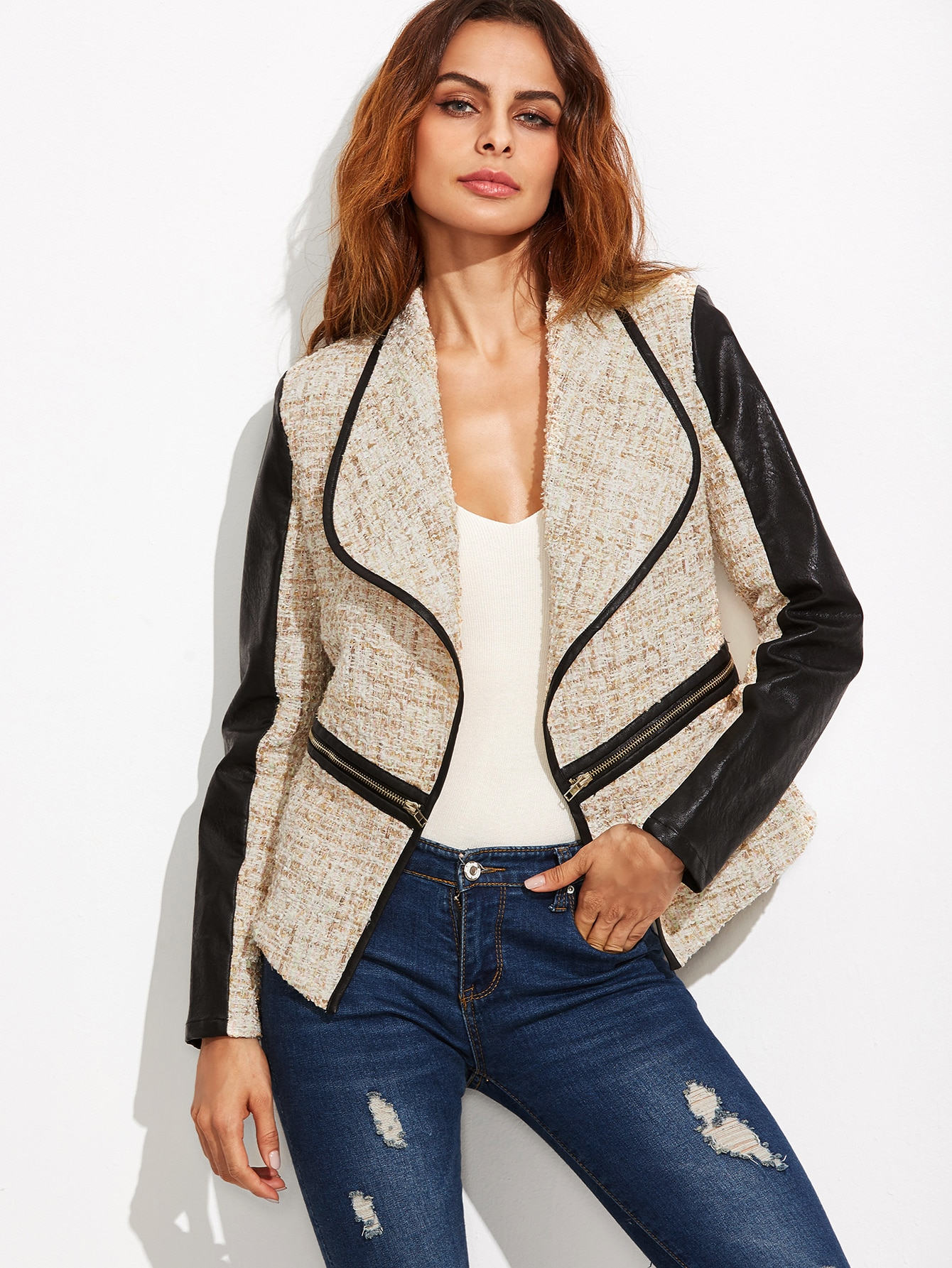 Beige Drape Collar Contrast Sleeve Tweed Jacket With Zip Detail