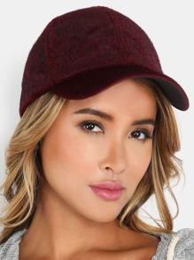 Faux Fur Baseball Cap BURGUNDY
