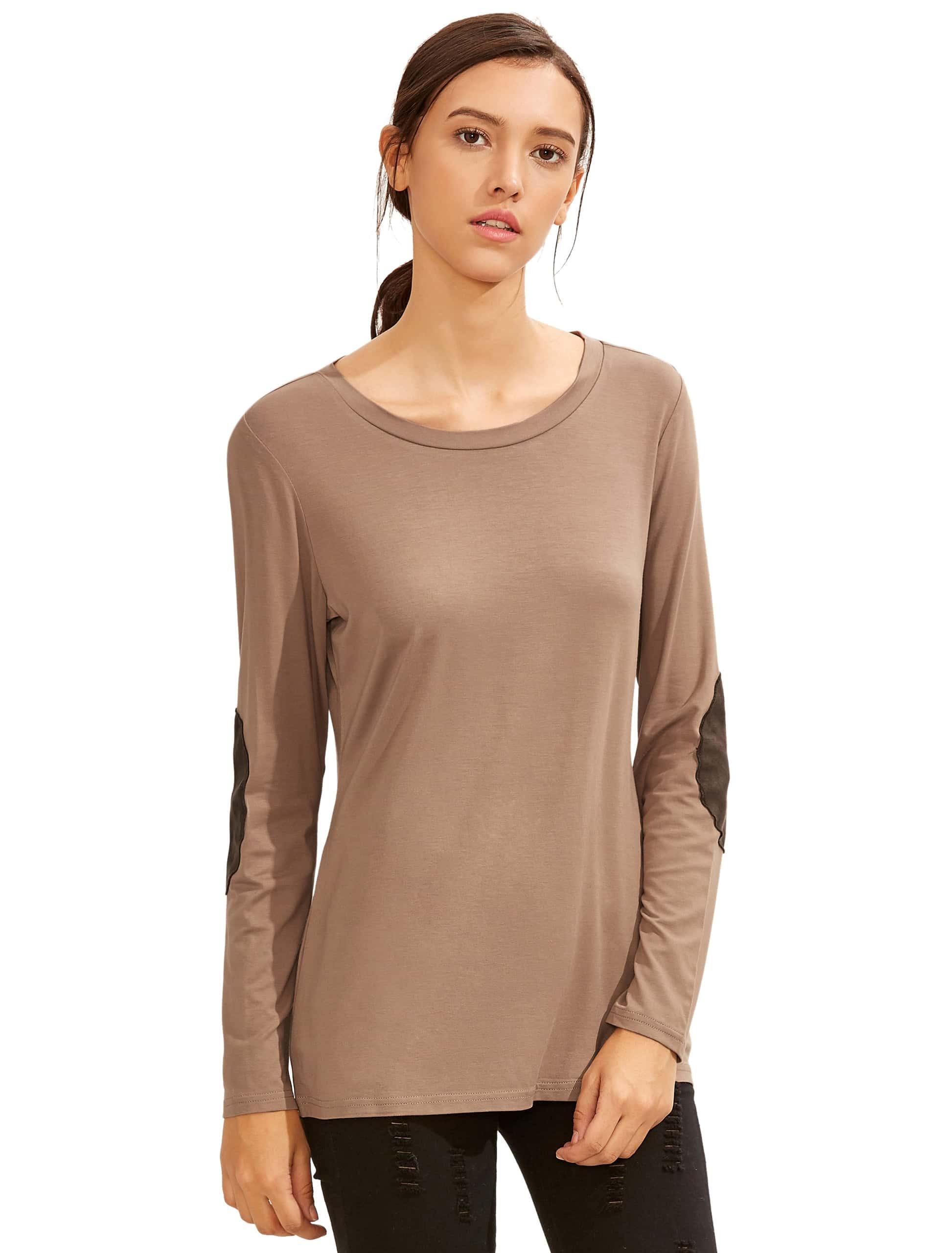 Фото Contrast Elbow Patch Sleeve T-Shirt. Купить с доставкой