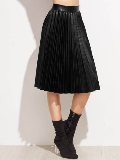 PU Pleated Knee Length Skirt