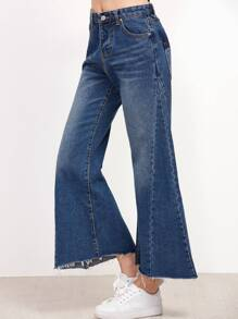 Blue Bleach Wash Raw Hem Flare Jeans