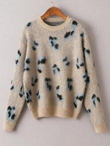Khaki Leopard Print Ribbed Trim Sweater