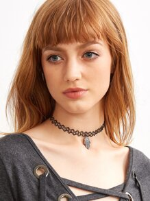 Hamsa Hand Pendant Elastic Choker Necklace