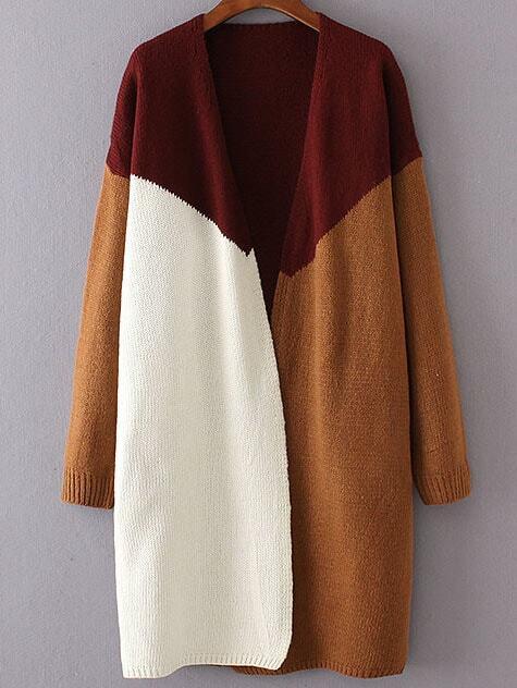 Red Color Block Collarless Drop Shoulder Cardigan sweater160906228