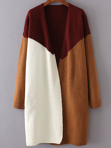 Red Color Block Collarless Drop Shoulder Cardigan sweater160906228