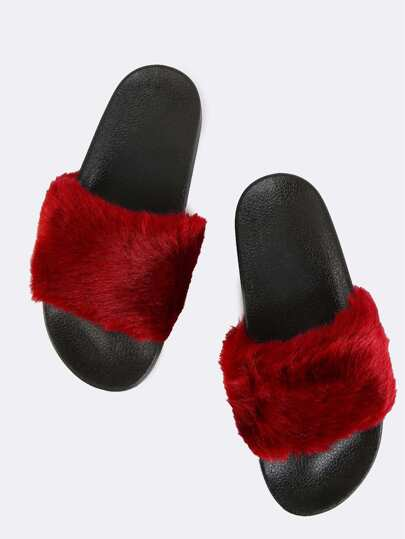 Contrast Fluffy Fur Slide Sandals BURGUNDY
