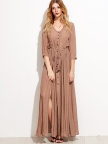 Camel Split Side Self Tie Maxi Dress With Fringe