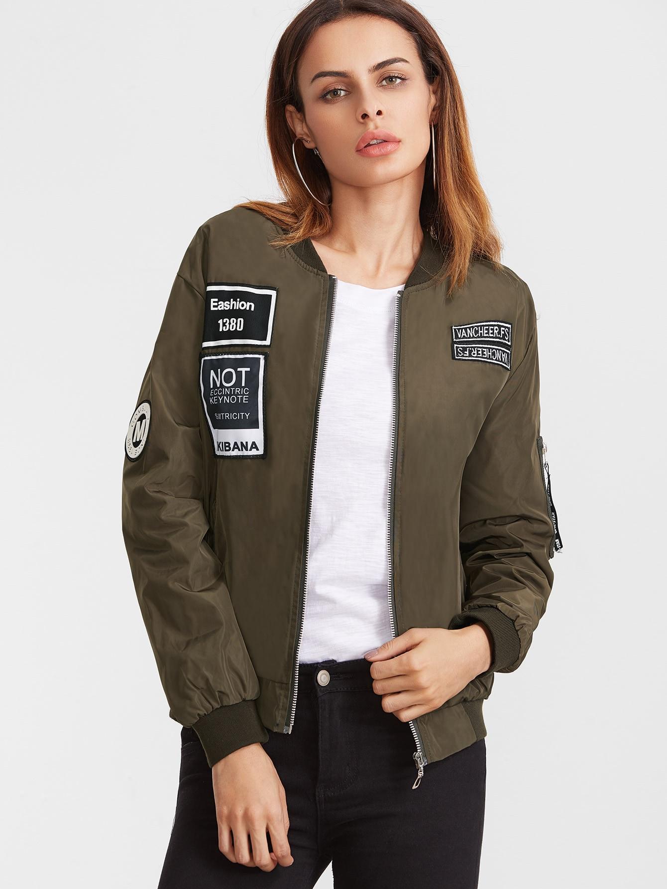 Embroidered Patch Zipper Flight Jacket