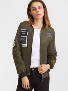 Embroidered Patch Zipper Flight Jacket