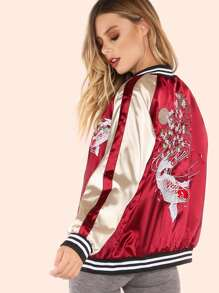 Satin Colorblock Embroidered Koi Bomber Jacket BURGUNDY