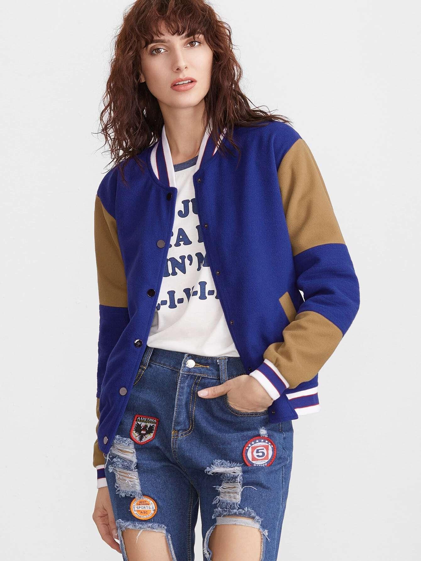 Фото Color Block Striped Trim Button Front Baseball Jacket. Купить с доставкой