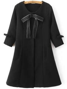Black Bow Embellished Hidden Button Slim Coat