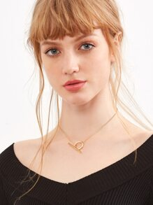 Gold Hoop And Bar Necklace