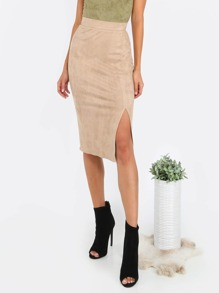Brown Slit Front Pencil Skirt