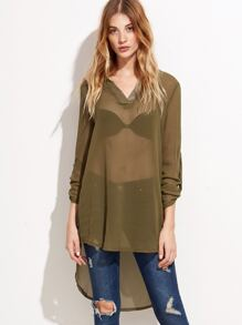 V Neck High Low Roll Tab Sleeve Mesh Blouse