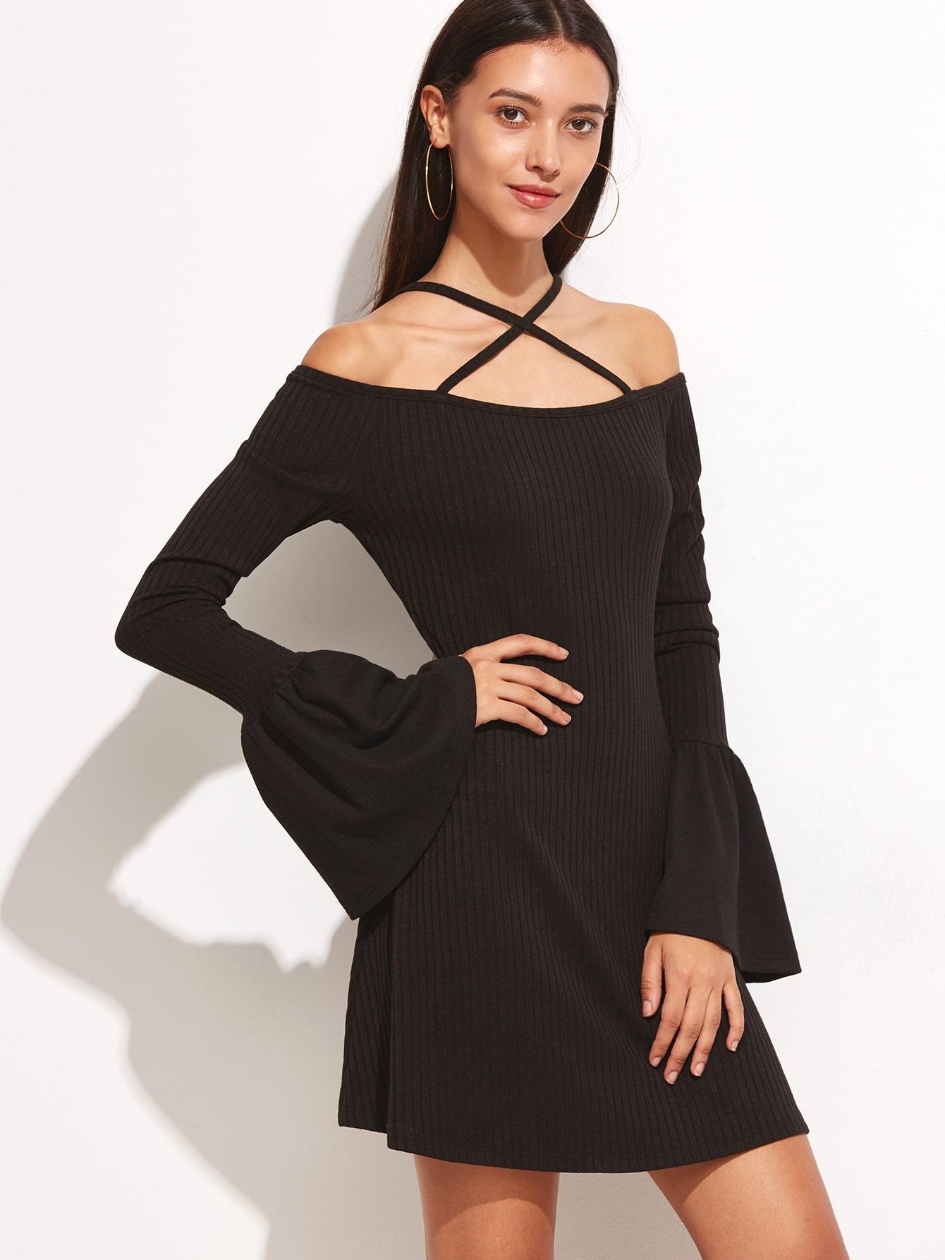 Black Crisscross Cold Shoulder Bell Cuff Ribbed Dress dress160921705