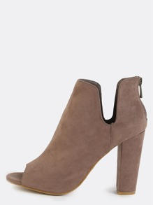 Side Slit Peep Toe Booties TAUPE