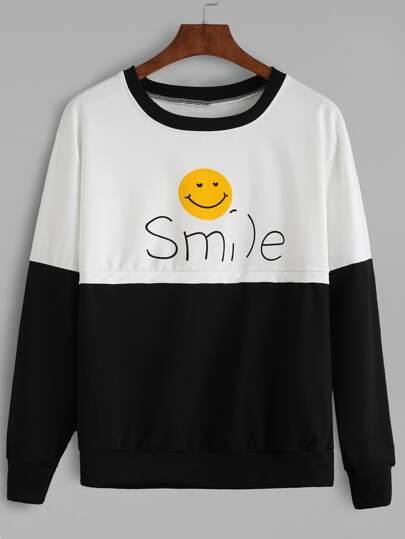 Black White Contrast Smile Print Sweatshirt