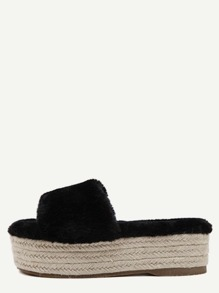 Black Rabbit Hair Peep Toe Espadrille Platform Slippers