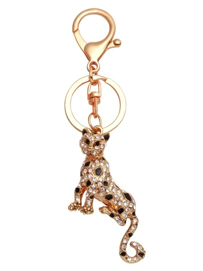Gold Plated Leopard Rhinestone Keychain