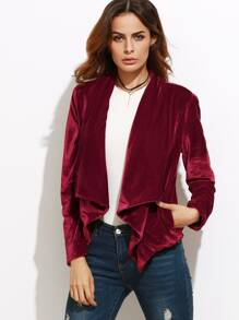 Waterfall Collar Velvet Blazer