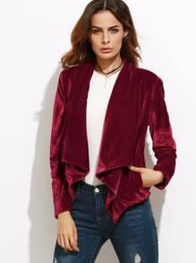 Бордовый модный пиджак с запахом