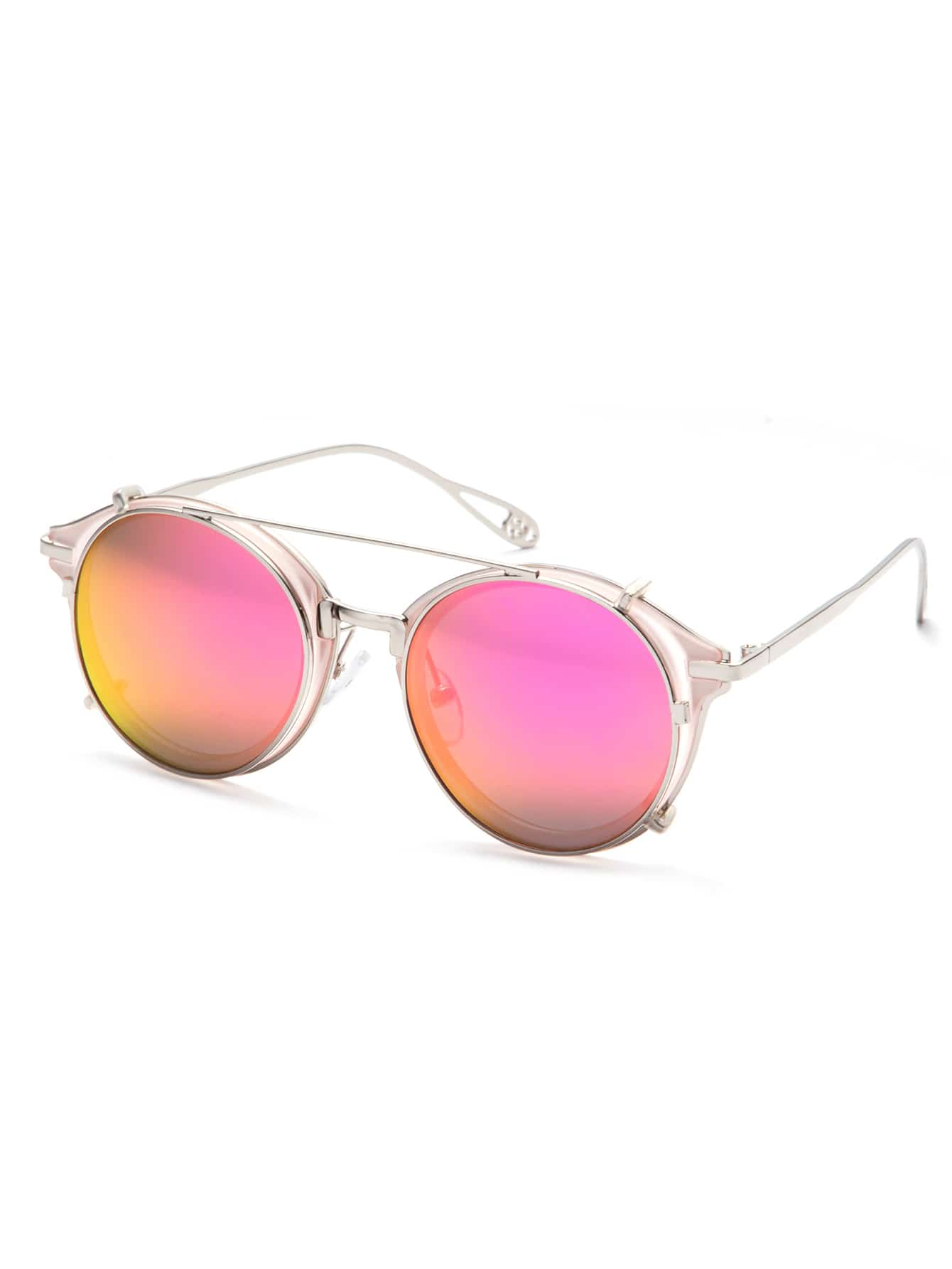 Pink Metal Frame Double Bridge SunglassesPink Metal Frame Double Bridge Sunglasses<br><br>color: Pink<br>size: None