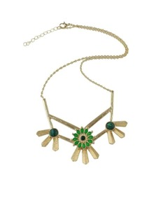 Green Rhinestone Flower Shape Necklace