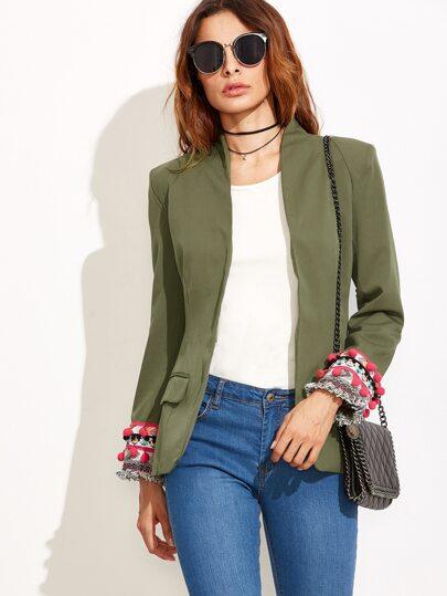 Army Green Contrast Cuff Pom Pom Fringe Blazer -SheIn(Sheinside)