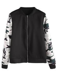 Contrast Camo Print Sleeve Jacket