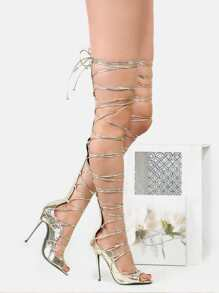 Metallic Cord Lace Up Heels GOLD