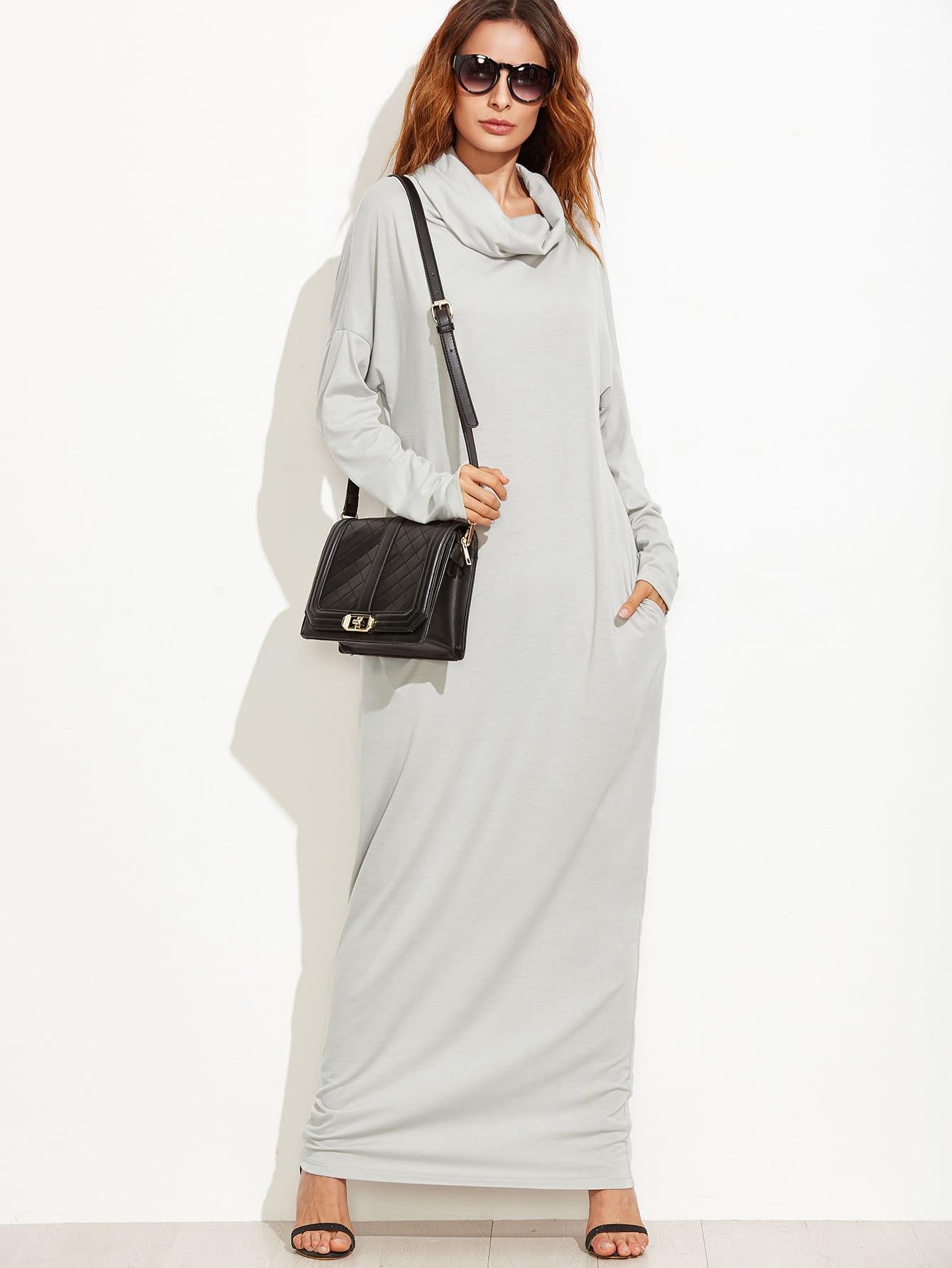 Фото Cowl Neck Drop Shoulder Maxi Dress. Купить с доставкой