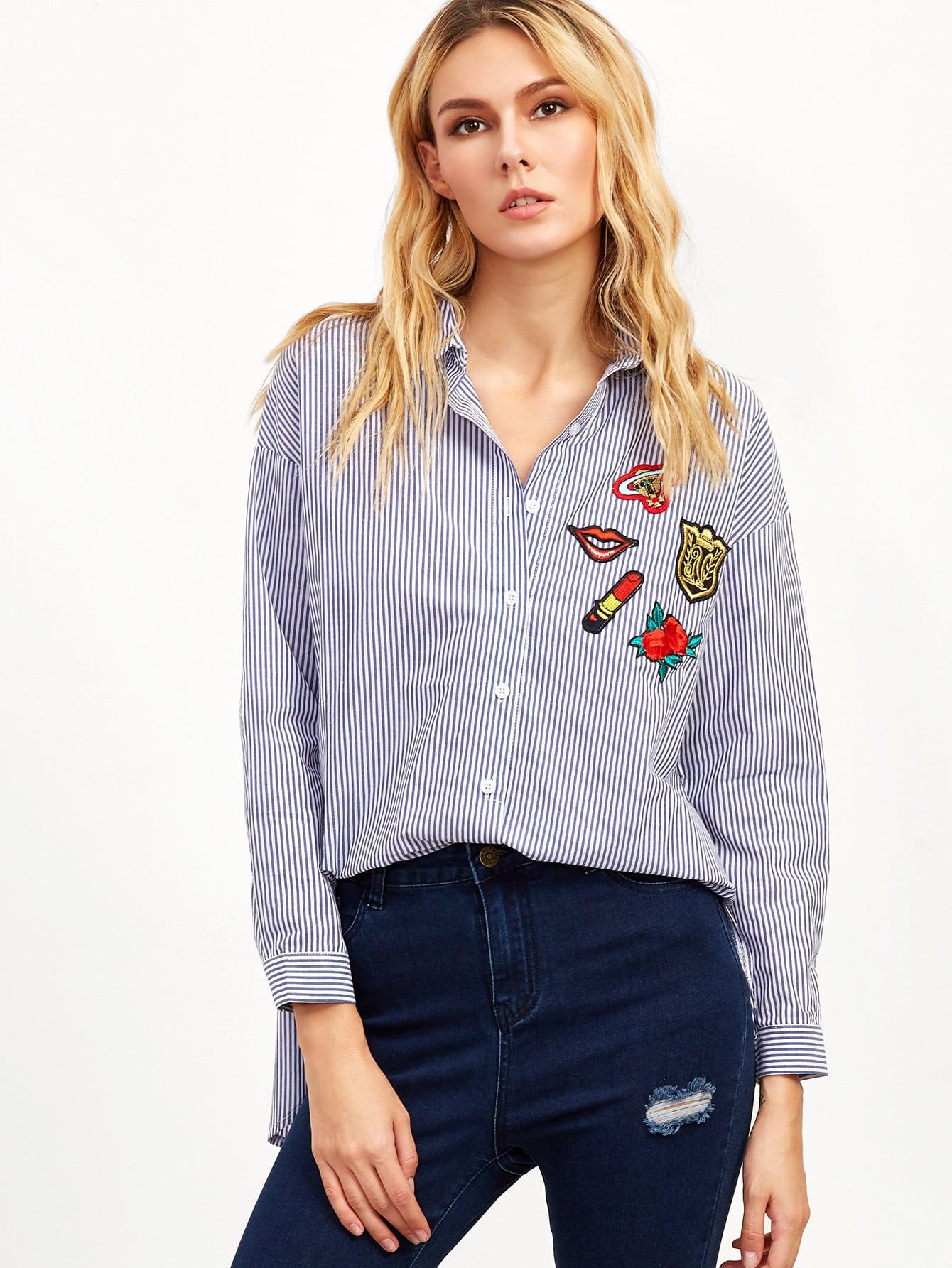Блузки в полоску с вышивкой 61