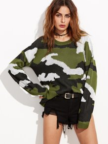 Olive Green Drop Shoulder Camo Sweater