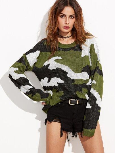 Olive Green Drop Shoulder Camo Sweater