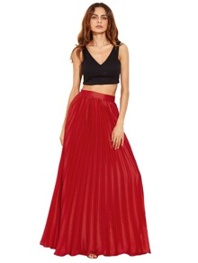 Crimson Zipper Side Pleated Flare Maxi Skirt