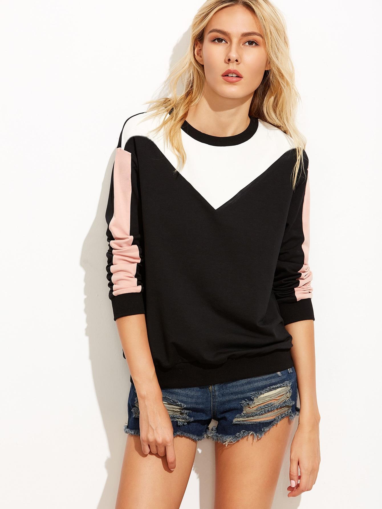 Color Block Drop Shoulder Sweatshirt drop shoulder fringe trim sweatshirt