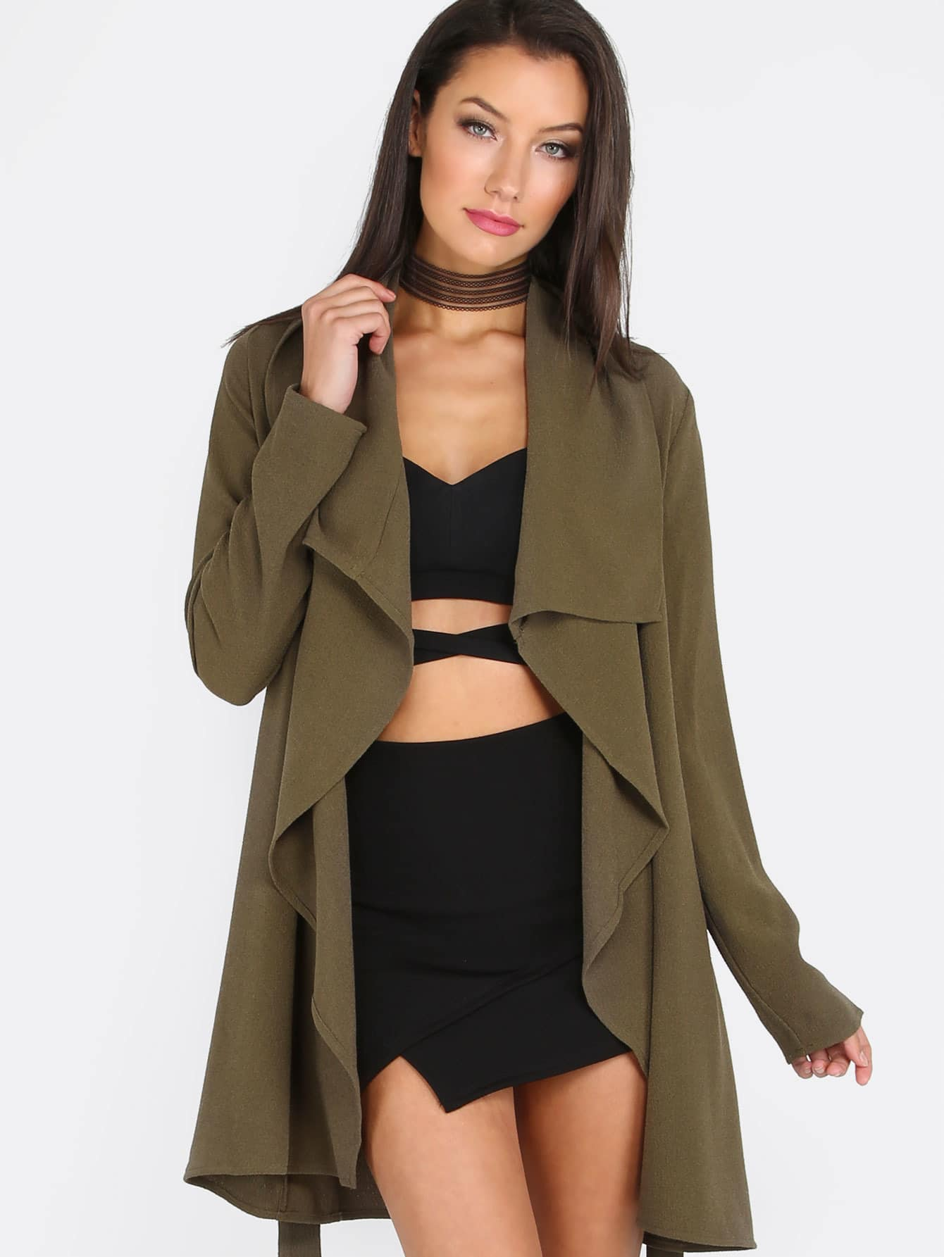Army Green Lapel Tie Long Sleeve Outerwear