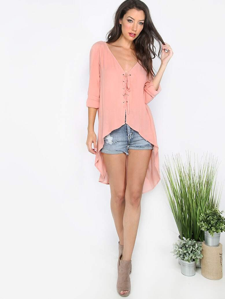 Buy Pink Lace-up V Neck High Low Blouse