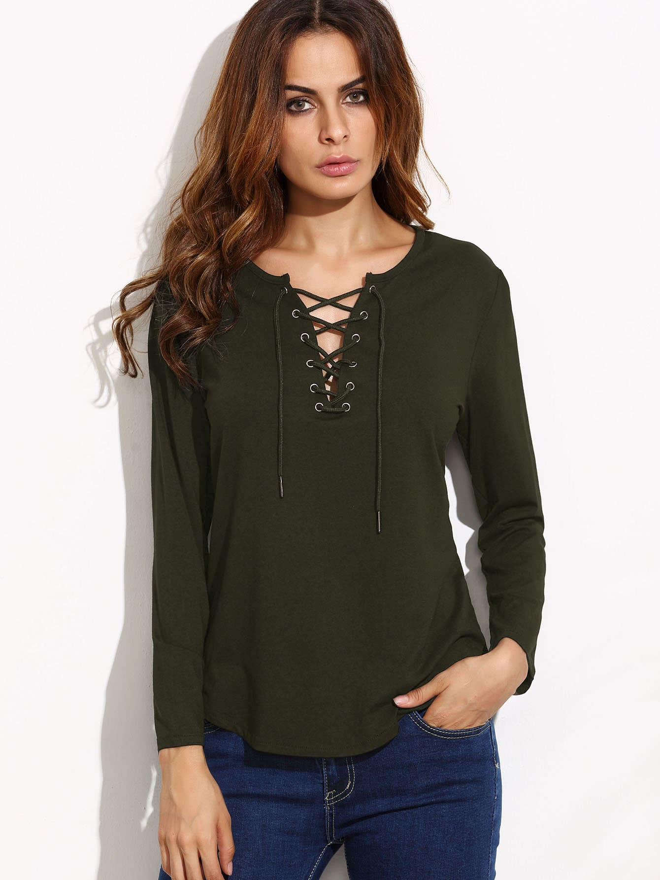 Grommet Lace Up Top striped grommet lace up dropped shoulder top