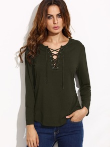 Camiseta manga larga con cordón - verde militar