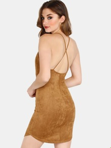 Bonded Faux Suede Strap Bodycon Dress BROWN